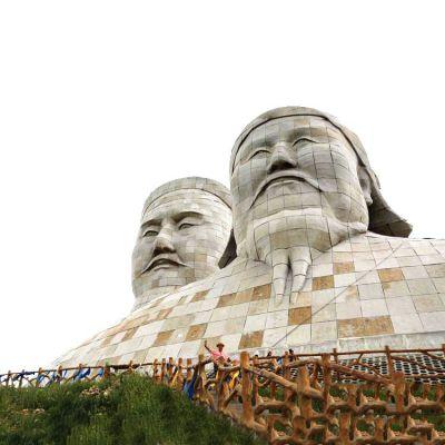大象成吉思汗石雕头像景观雕塑