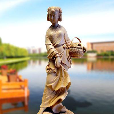 西施挽纱雕塑