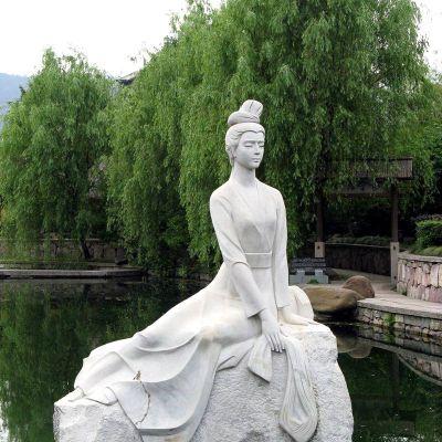 西施挽纱汉白玉石雕