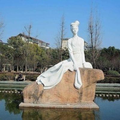 西施挽纱石雕景观雕塑