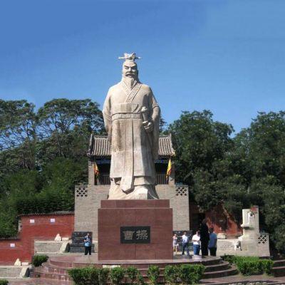 魏武帝曹操汉白玉石雕像