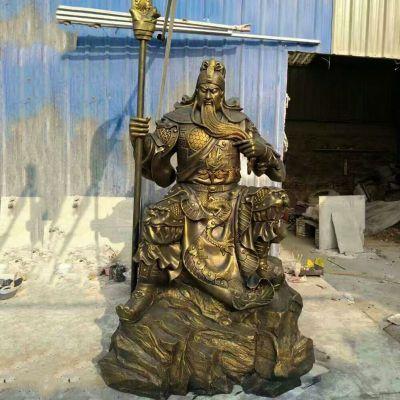 玻璃钢仿铜关羽雕塑