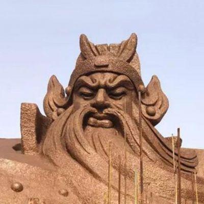 大型关公石雕头像