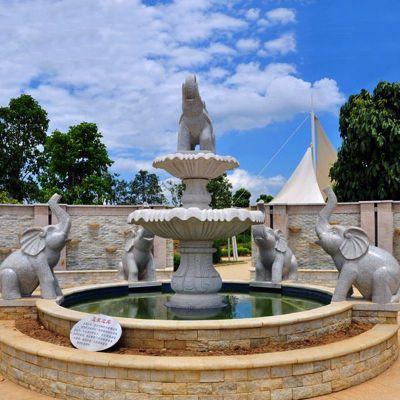 喷水大象石雕喷泉