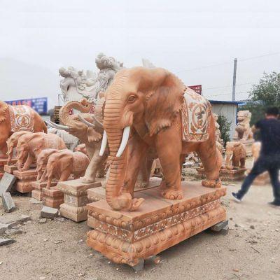 晚霞红大象石雕