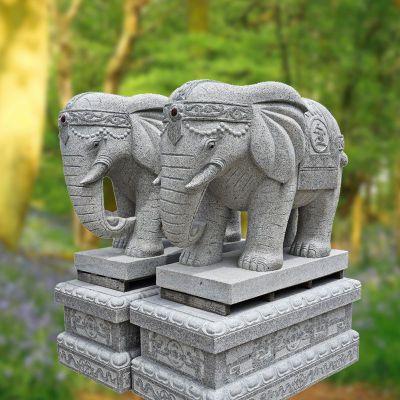 招财纳福石雕大象