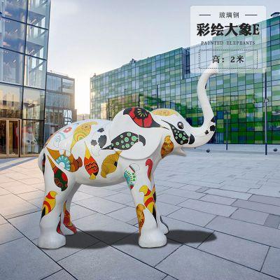 彩绘大象2米玻璃钢雕塑