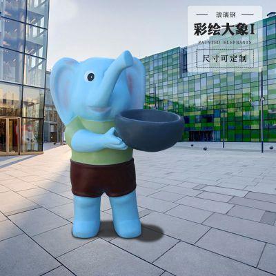 立式玻璃钢小象彩绘雕塑