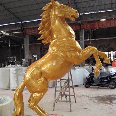 玻璃钢仿铜漆金雕塑马