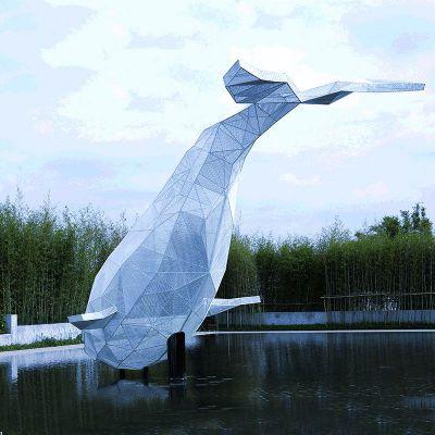 不锈钢网格鲸鱼雕塑