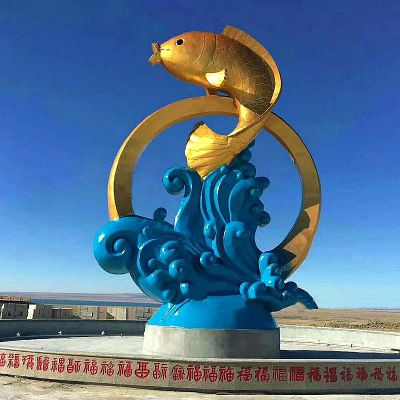 不锈钢鱼跃景观雕塑