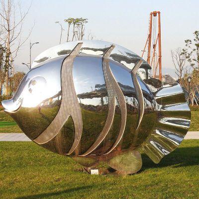 镜面不锈钢鱼公园雕塑摆件