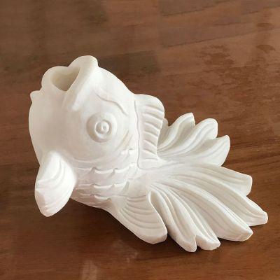 汉白玉喷水金鱼石雕