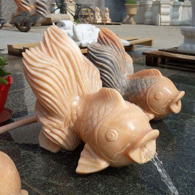 喷水金鱼晚霞红石雕