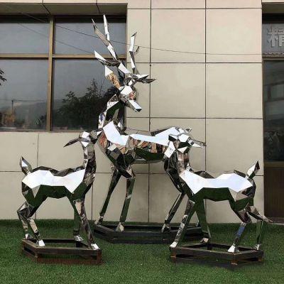 大块状几何抽象鹿不锈钢雕塑