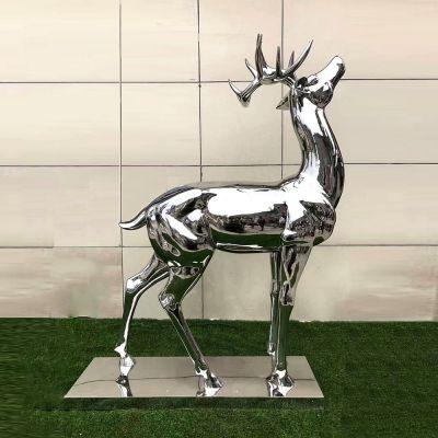 镜面不锈钢鹿雕塑