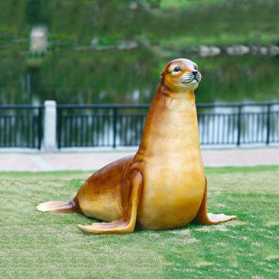 仿真海豹玻璃钢海洋动物雕塑