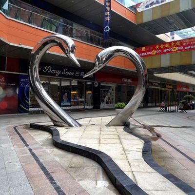 """""""爱心""""不锈钢景观天鹅雕塑"""