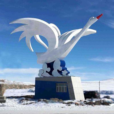 大型不锈钢天鹅景观雕塑