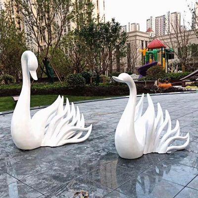 白色天鹅广场雕塑摆件