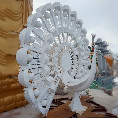 不锈钢抽象孔雀雕塑