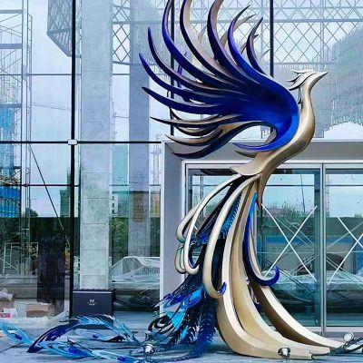 大型彩绘不锈钢孔雀景观雕塑
