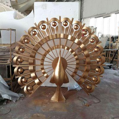 仿铜色不锈钢孔雀雕塑