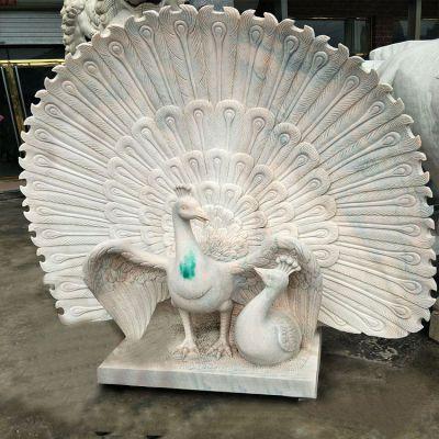 孔雀汉白玉石雕