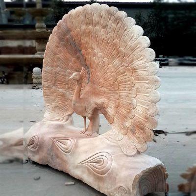 孔雀晚霞红石雕