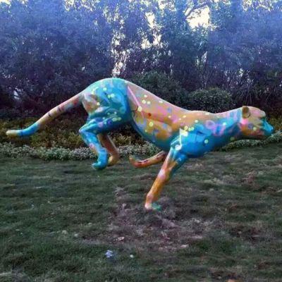 玻璃钢彩绘花豹雕塑