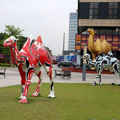 彩绘骆驼不锈钢雕塑