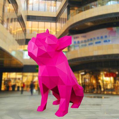 玻璃钢块面狗雕塑