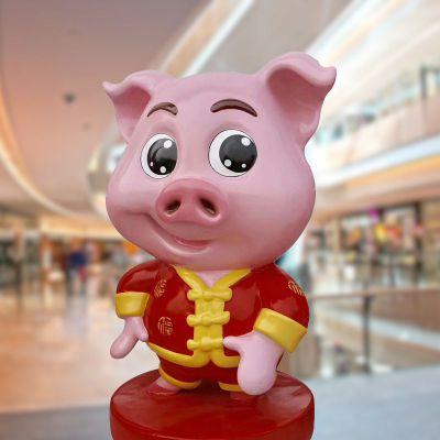 好运猪商场玻璃钢美陈雕塑