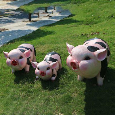 卡通仿真超胖可爱猪雕塑