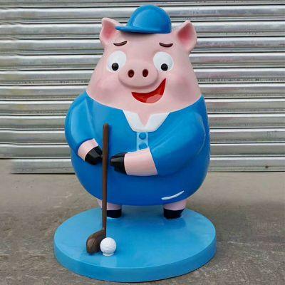卡通商场美陈雕塑打高尔夫球的猪