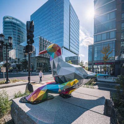 块面彩虹鸽子玻璃钢雕塑景观