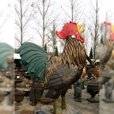 彩绘铜雕公鸡