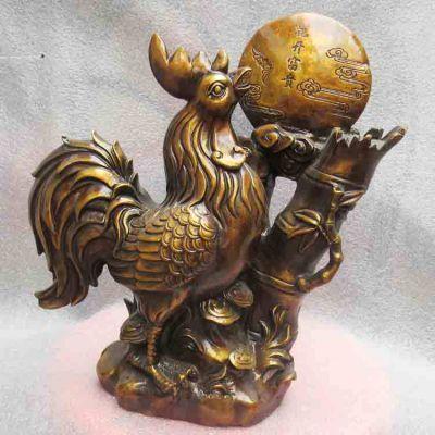 纯铜公鸡花开富贵雕塑