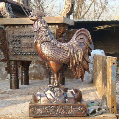 纯铜铸造公鸡雕塑