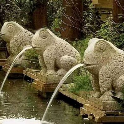 喷水抽象青蛙石雕