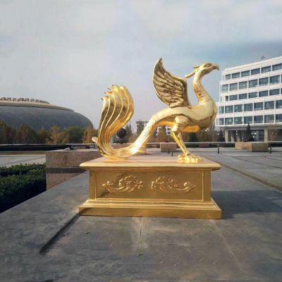 漆金铜雕朱雀