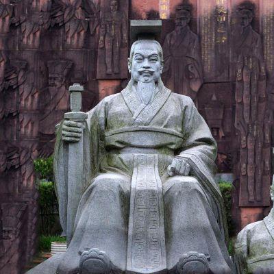 轩辕黄帝坐姿石雕塑像