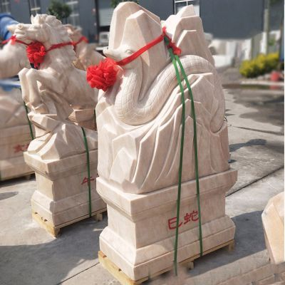 巳蛇-晚霞红12生肖石雕