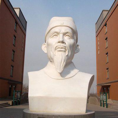 杜甫汉白玉石雕头像