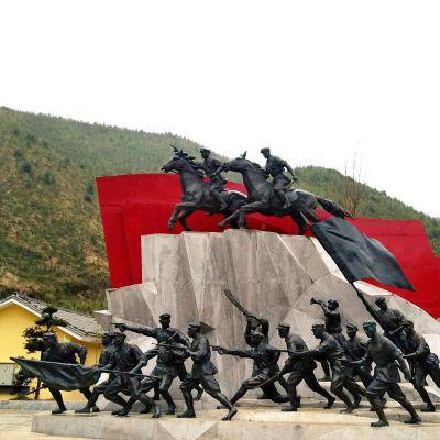 冲锋部队铜雕人物景观