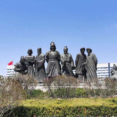 成吉思汗人物群景观铜雕