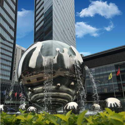 不锈钢创意球体流水喷泉景观雕塑