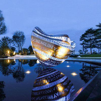 不锈钢灯光水景景观雕塑
