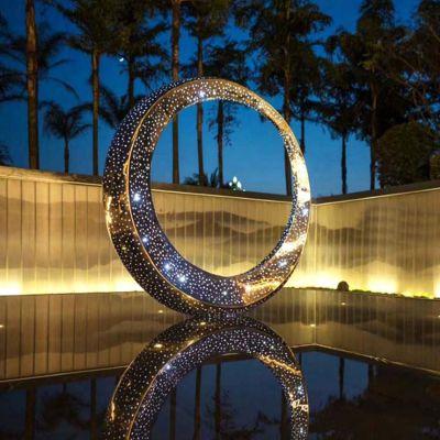 不锈钢环灯光景观雕塑