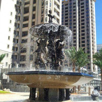 欧式人物铜雕喷泉水景